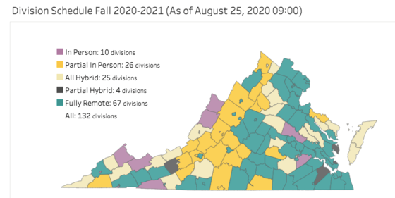 Virginia Fall 2020 Return to School Map Picture