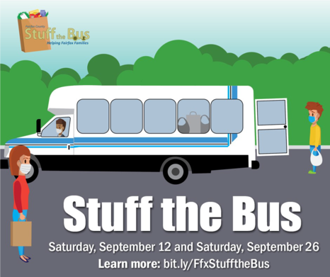 A cartoon image of a bus for the Stuff the Bus Food Drive