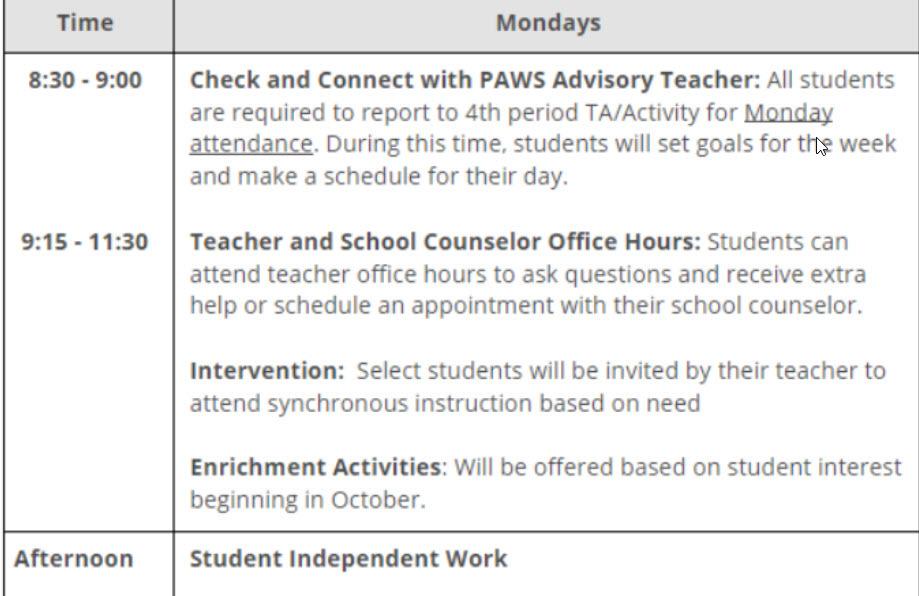 Monday Bell Schedule 2020