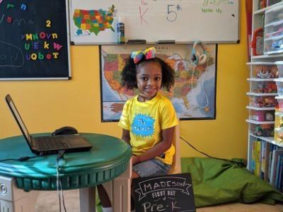 student in beautiful home learning