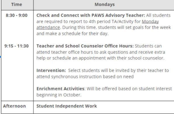 Mondays schedule