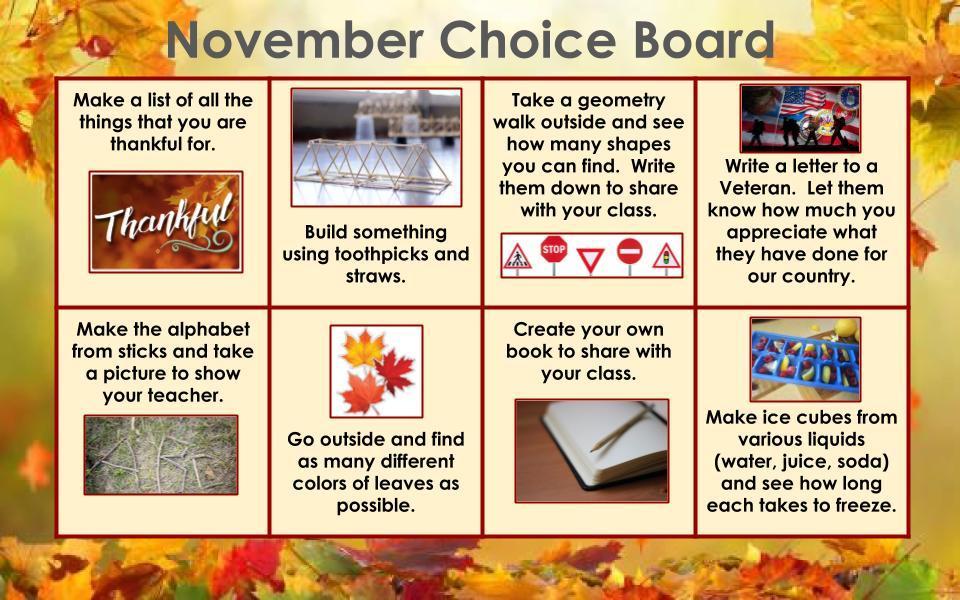November Choice board