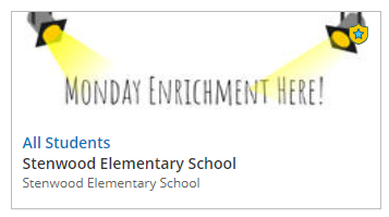 Monday Enrichment Schedule