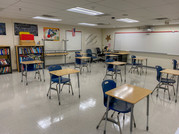 Classroom that is set up for social distancing