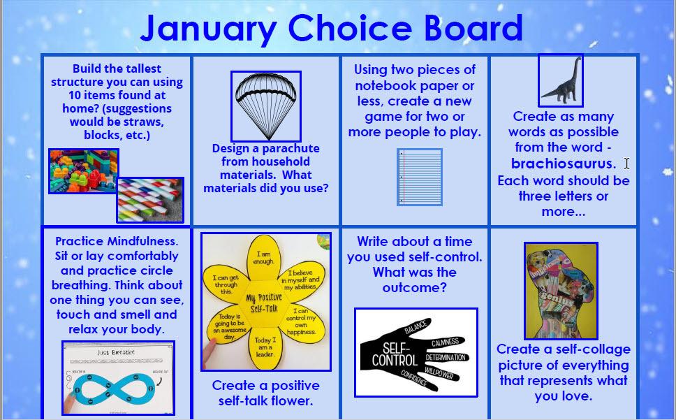 January choice board week 2