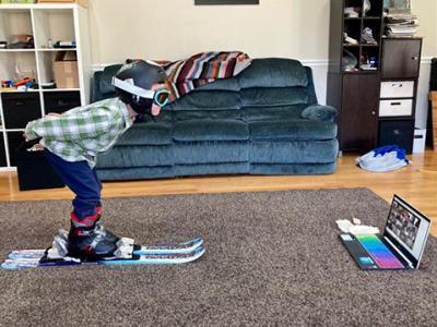 Student in ski gear.