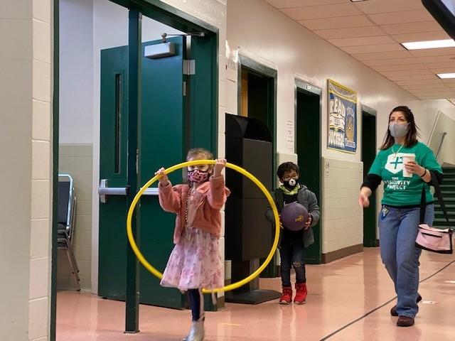 Photo of kindergarten students walking to recess