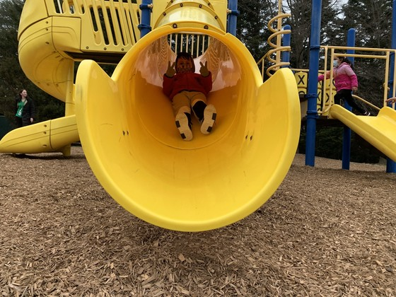 Photo of student going down the slide