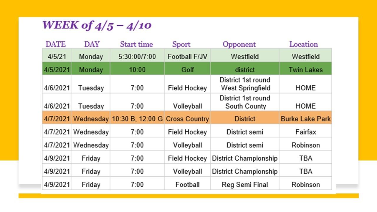 Athletics Schedule April 5 - 10, 2021