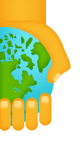 Earth in hand graphic