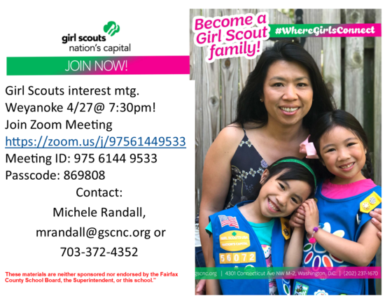 Girl scouts meeting flyer