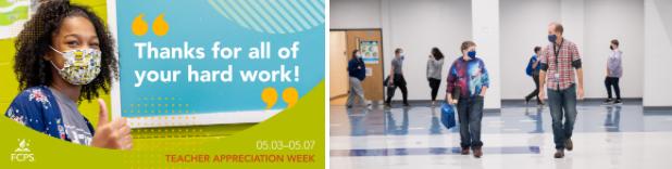 Teacher appreciation week graphic and student walking alongside a teacher