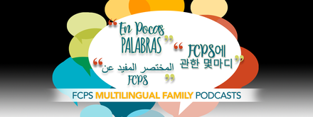FCPS multilingual podcast graphic