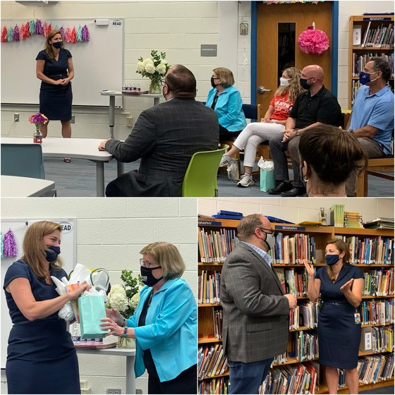 Photo collage of principal announcement at Mantua Elementary School