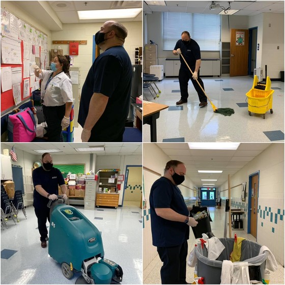 Collage of Karl Frisch cleaning classrooms
