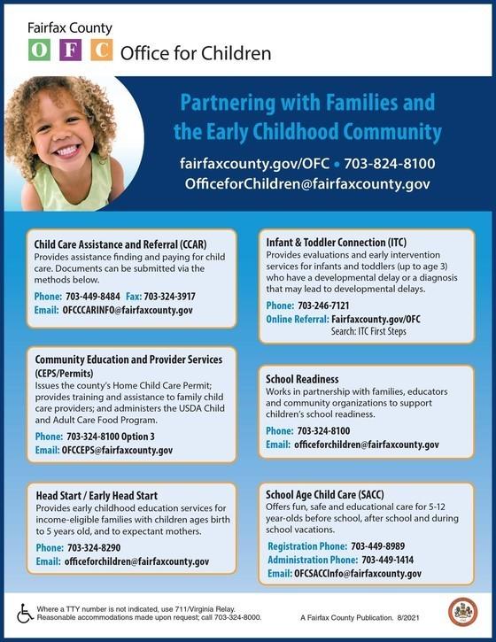 Fairfax Early Childhood Programs Flyer