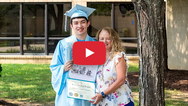 Student at graduation with his mother.