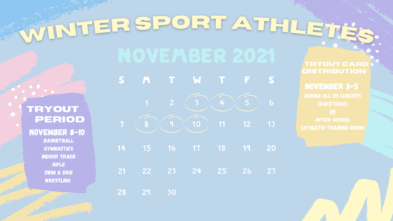 Winter Try Out Calendar