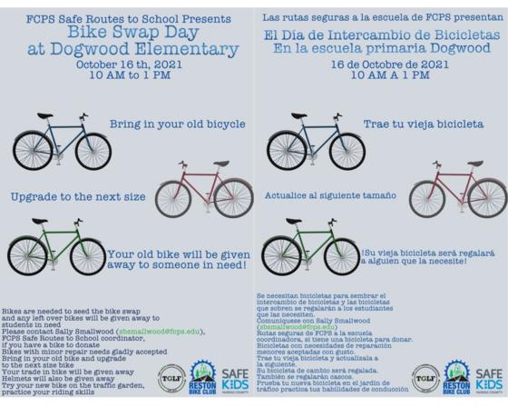 Bike swap day graphic english and spanish