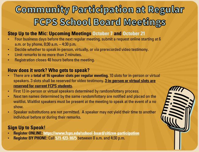 Graphic describing community participation at Board Meetings