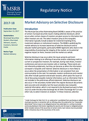 Selective Disclosure Market Advisory Cover