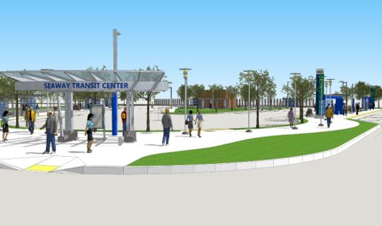 Aerial view rendering of Seaway Transit Center