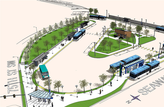 Aerial view rendering of Seaway Transit Center, northern terminus for Swift Green Line