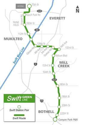 Swift Green Line Service Map