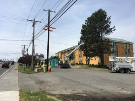 Snohomish PUD relocates electric utility poles on the northeast side of 128th St.