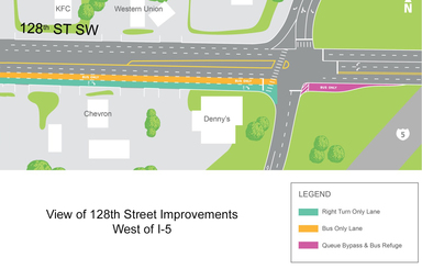 View of 128th Street Improvements West of I-5