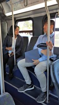 Sen Pramila Jayapal Rides Swift Blue Line bus
