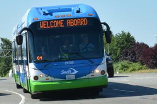 Swift Bus Approaching Seaway Transit Center