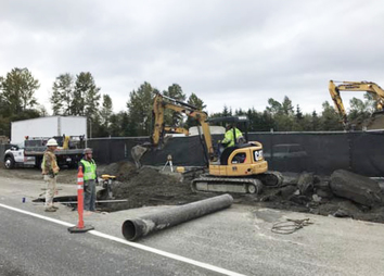 Work continues along northbound Seaway Blvd