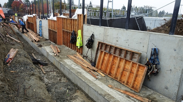Retaining wall located on the south edge of the Seaway Transit Center property