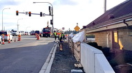 New sidewalks and retaining wall near Denny's.