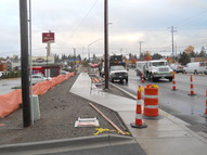 The sidewalk west of I-5 is nearly complete and awaiting landscaping.