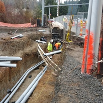 Utility conduits are placed at 128th St. and 3rd Ave.