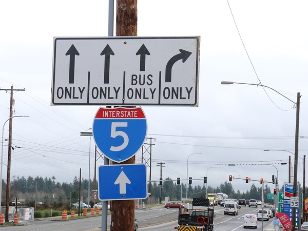 The new bus-only lane makes crossing I-5 easier for traffic.