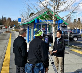 Roland speaks to Q13 News at Cedar & Grove