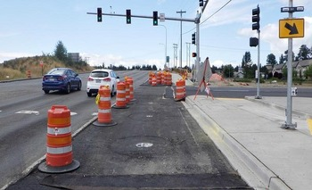 WB 128th bus lane waiting for WSDOT paving