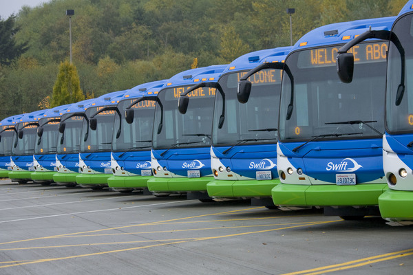 Line up of Swift Buses