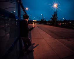 Rider waits in bus shelter in early morning hours