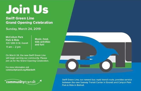 Invitation for Swift Green Line Grand Opening Celebration; Sunday, March 24