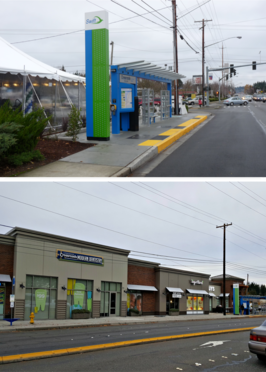 Before and After: from vacant lot to Lynnwood Crossroads Station and Retail