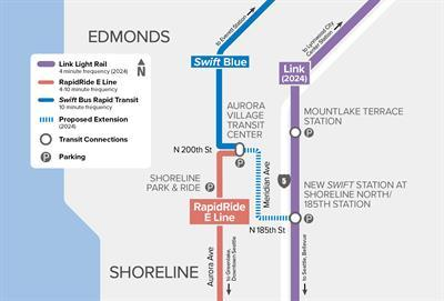 Preferred Route for Swift Blue Line Extension to Light Rail in Shoreline
