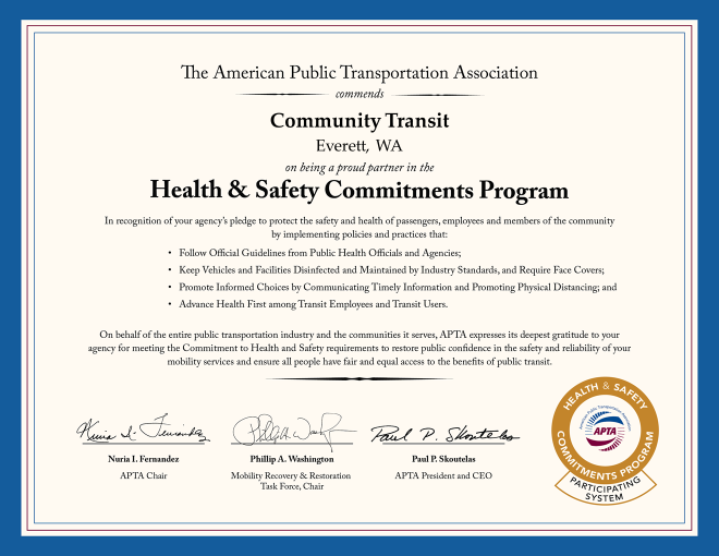 Health and Safety Commitments Program Certificate