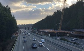 northbound I-5 lanes at Mountlake Terrace Transit Center looking South