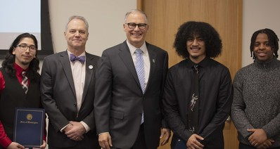 Governor Inslee with JR youth and Ross Hunter