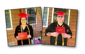 Dennis and Evelyn with diplomas
