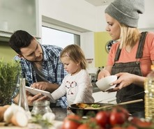 Family eating and cooking together